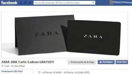 arnaque carte cadeau sur facebook zara hm