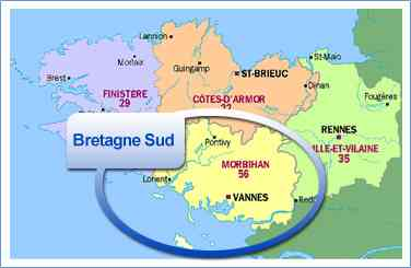 carte de bretagne du sud