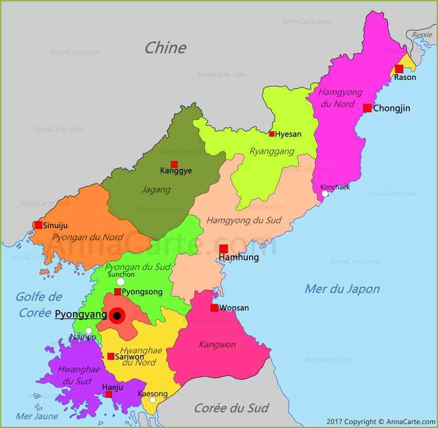 carte de coree du nord