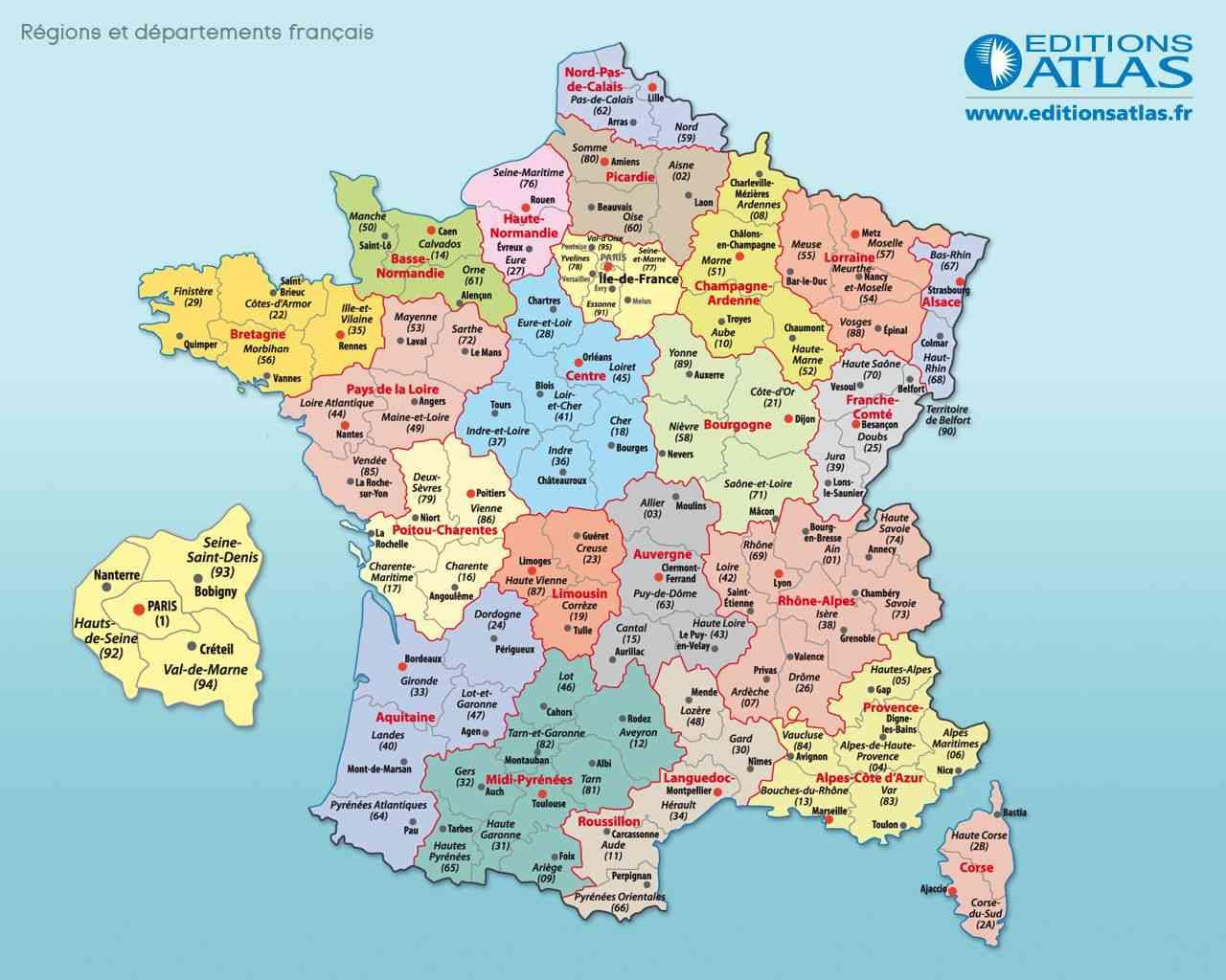 carte de la france et ses départements