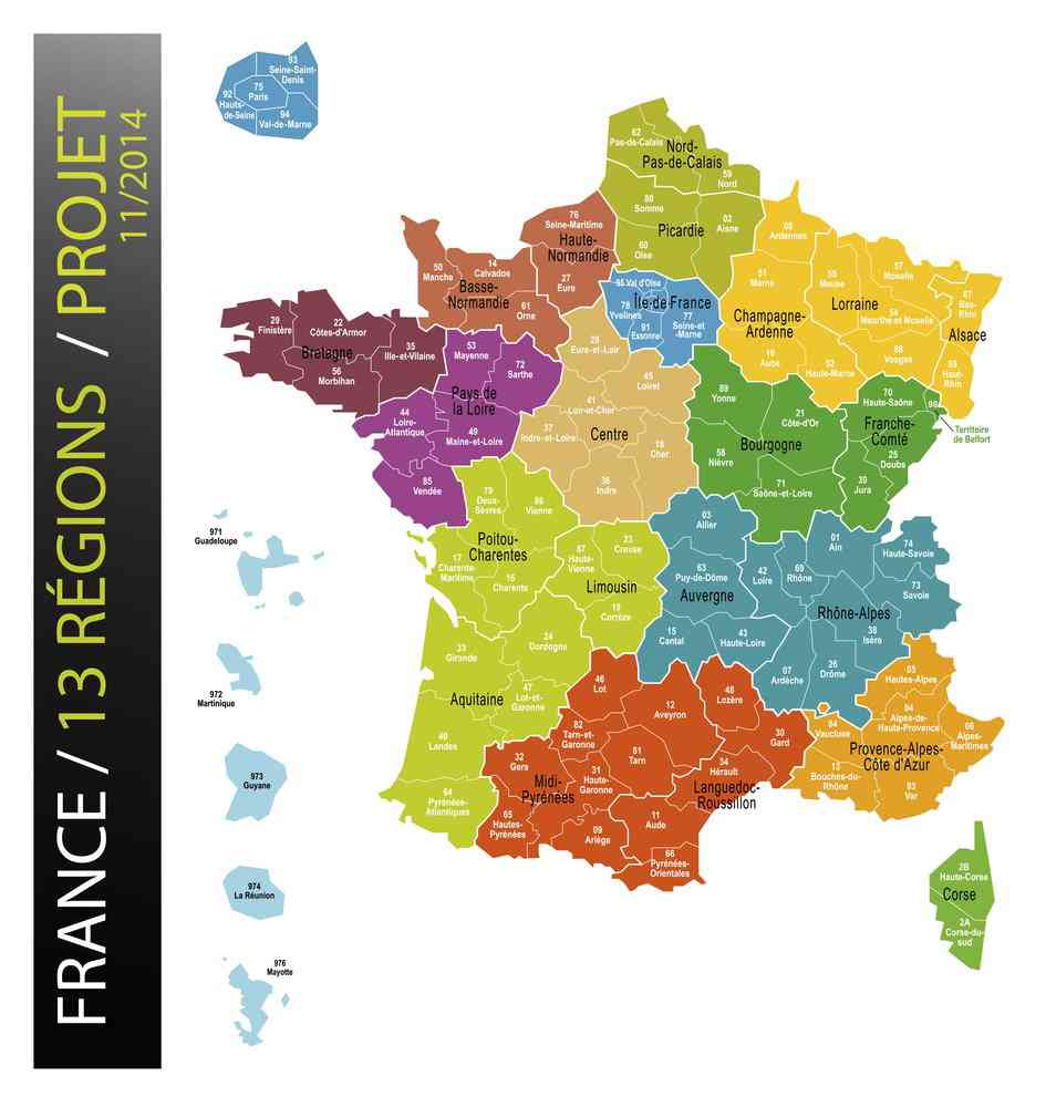 carte de france des regions images