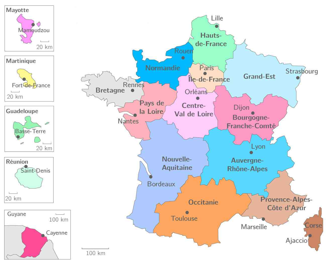 carte de france regions et departements francais