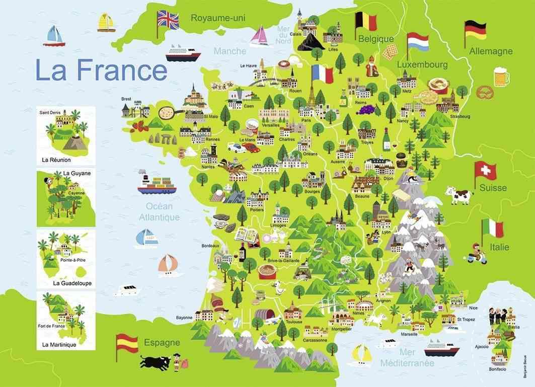 carte de france touristique illustree