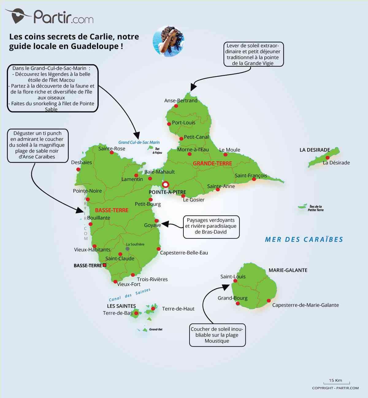 carte de guadeloupe ile ouest et est