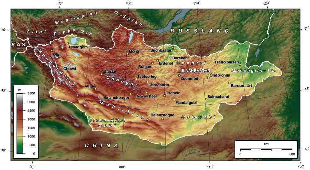 carte de la mongolie