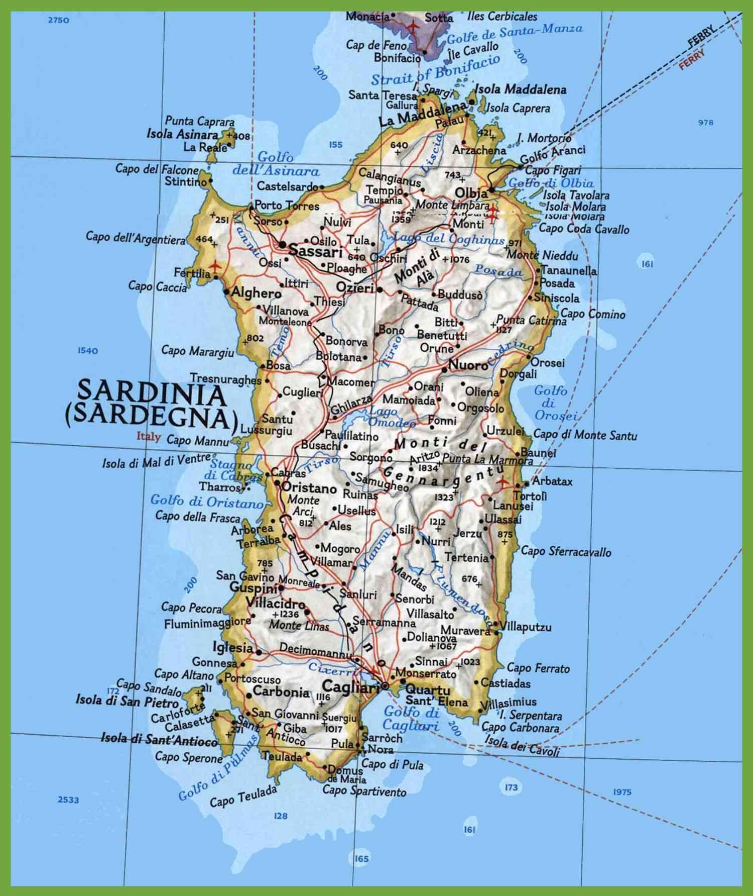 carte de la sardaigne