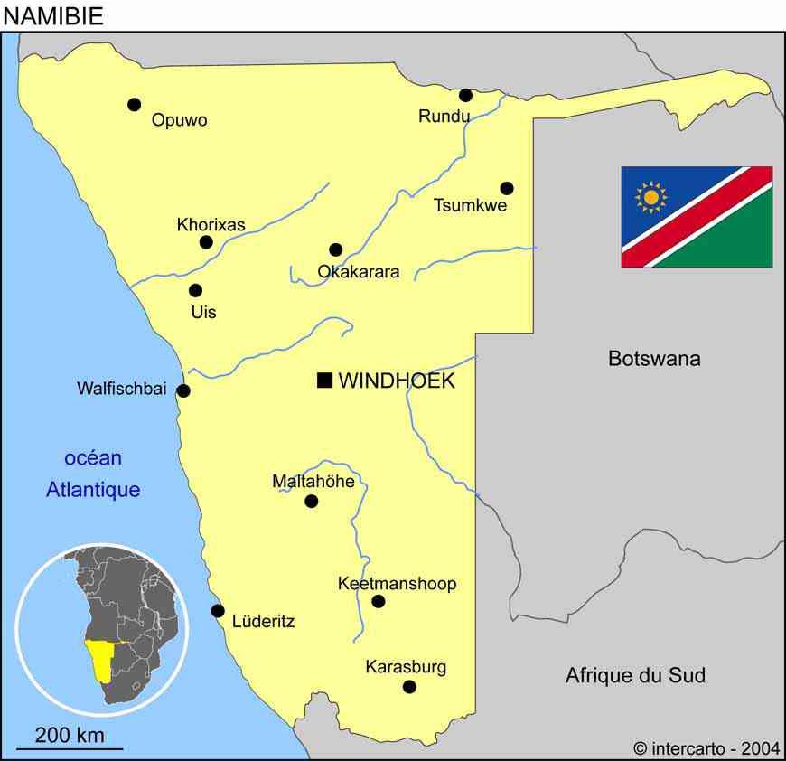 carte de namibie