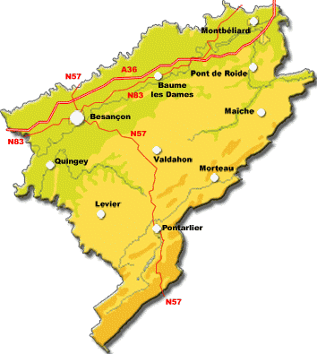 carte departement doubs
