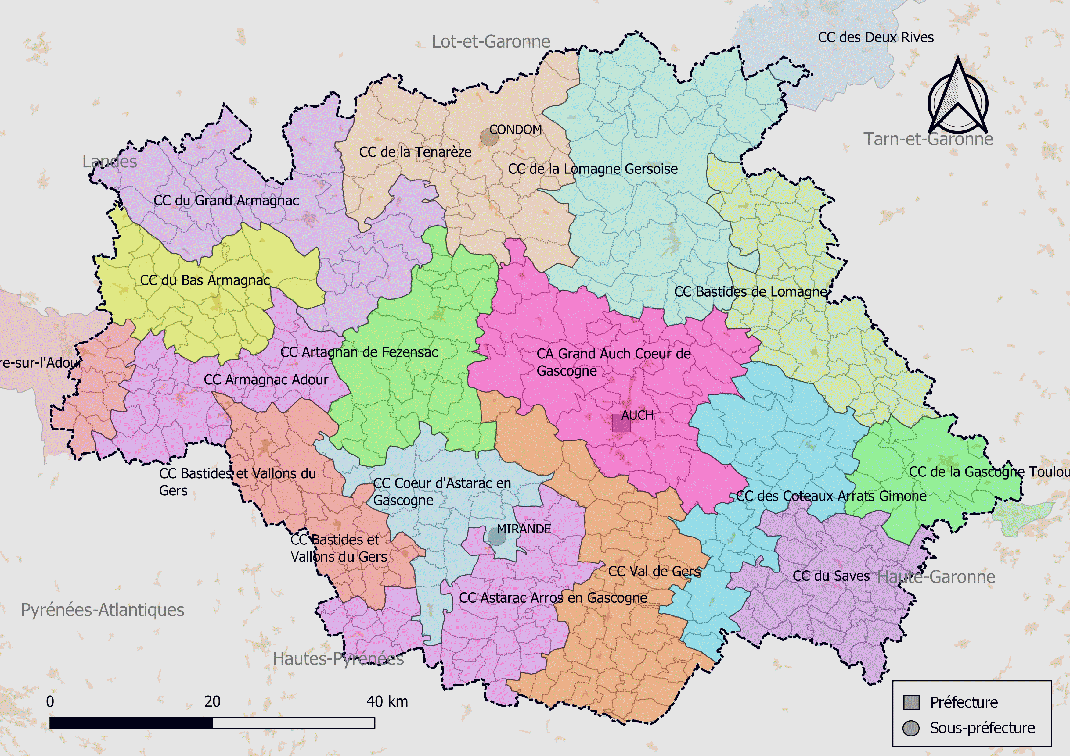 carte departement du gers