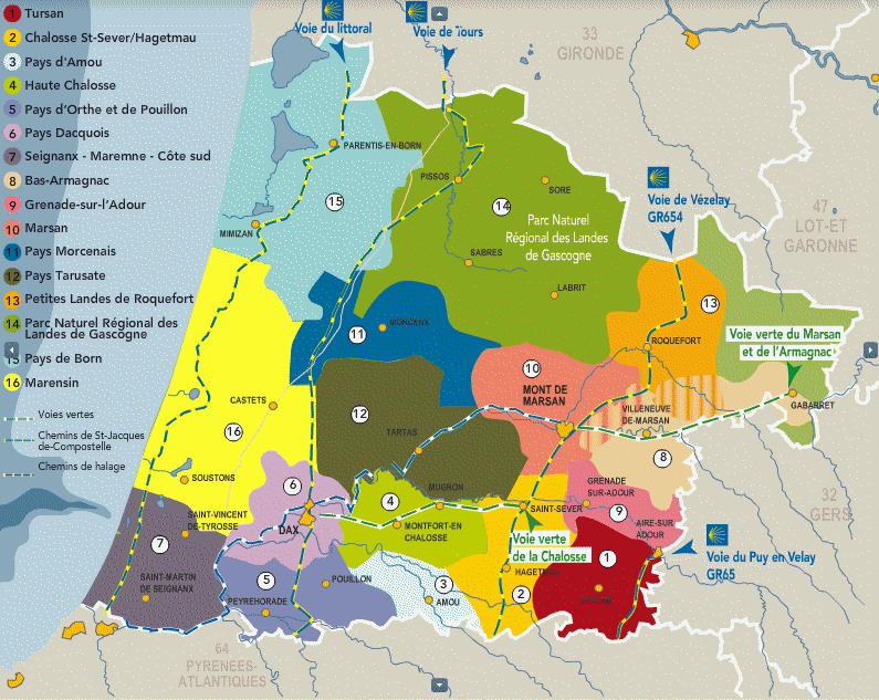 carte departement landes