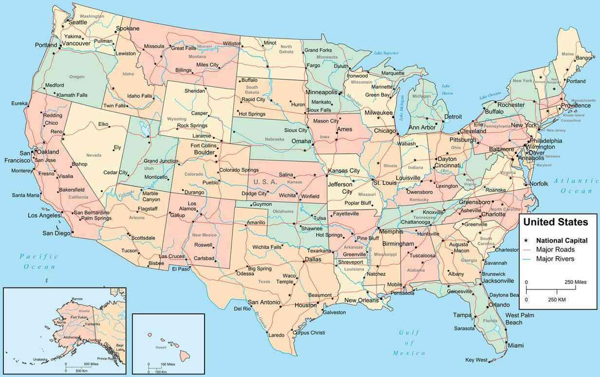 carte des etats unis avec villes