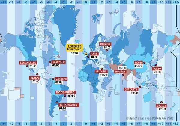 carte du monde des fuseaux horaires