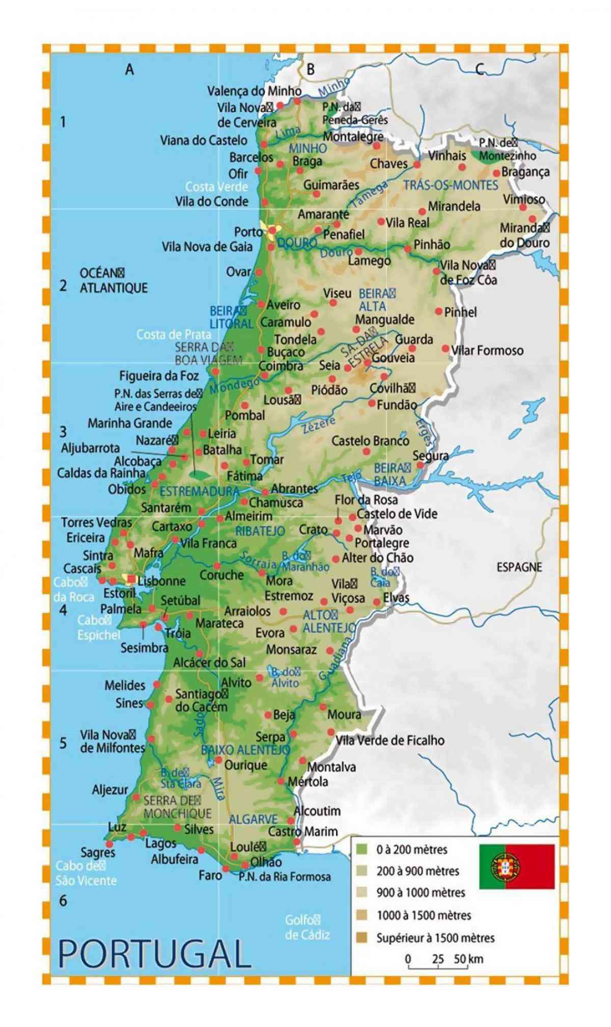 carte du portugal