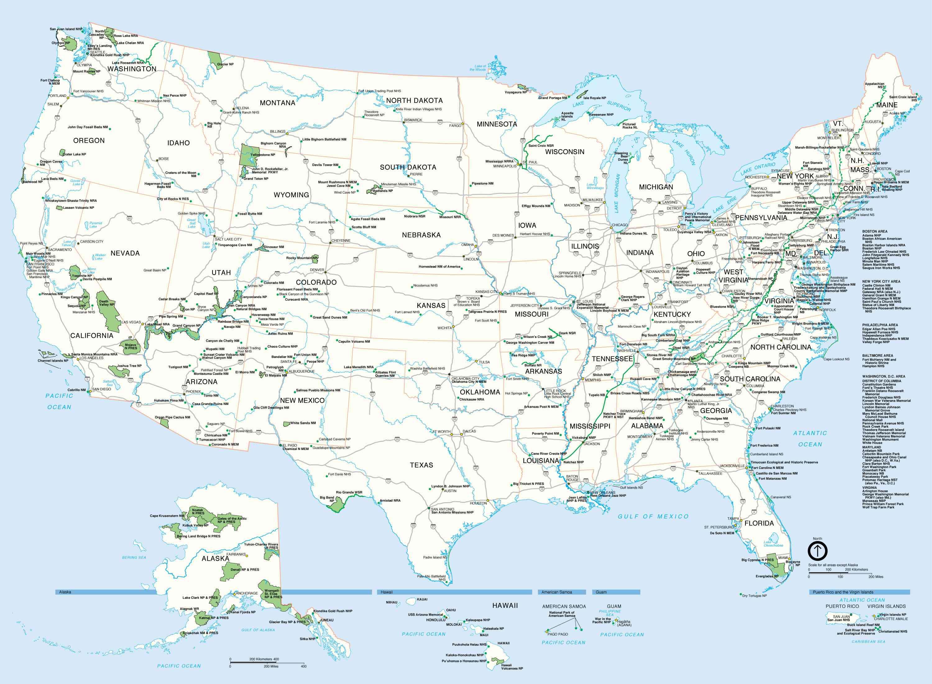 carte etats unis villes