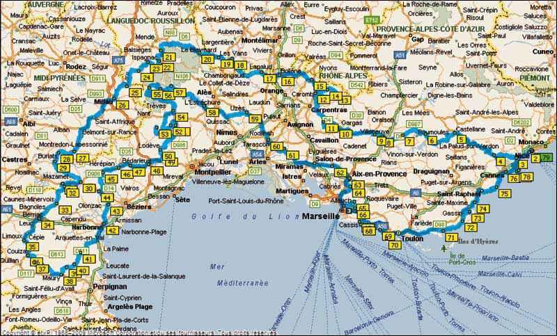carte geographique du sud