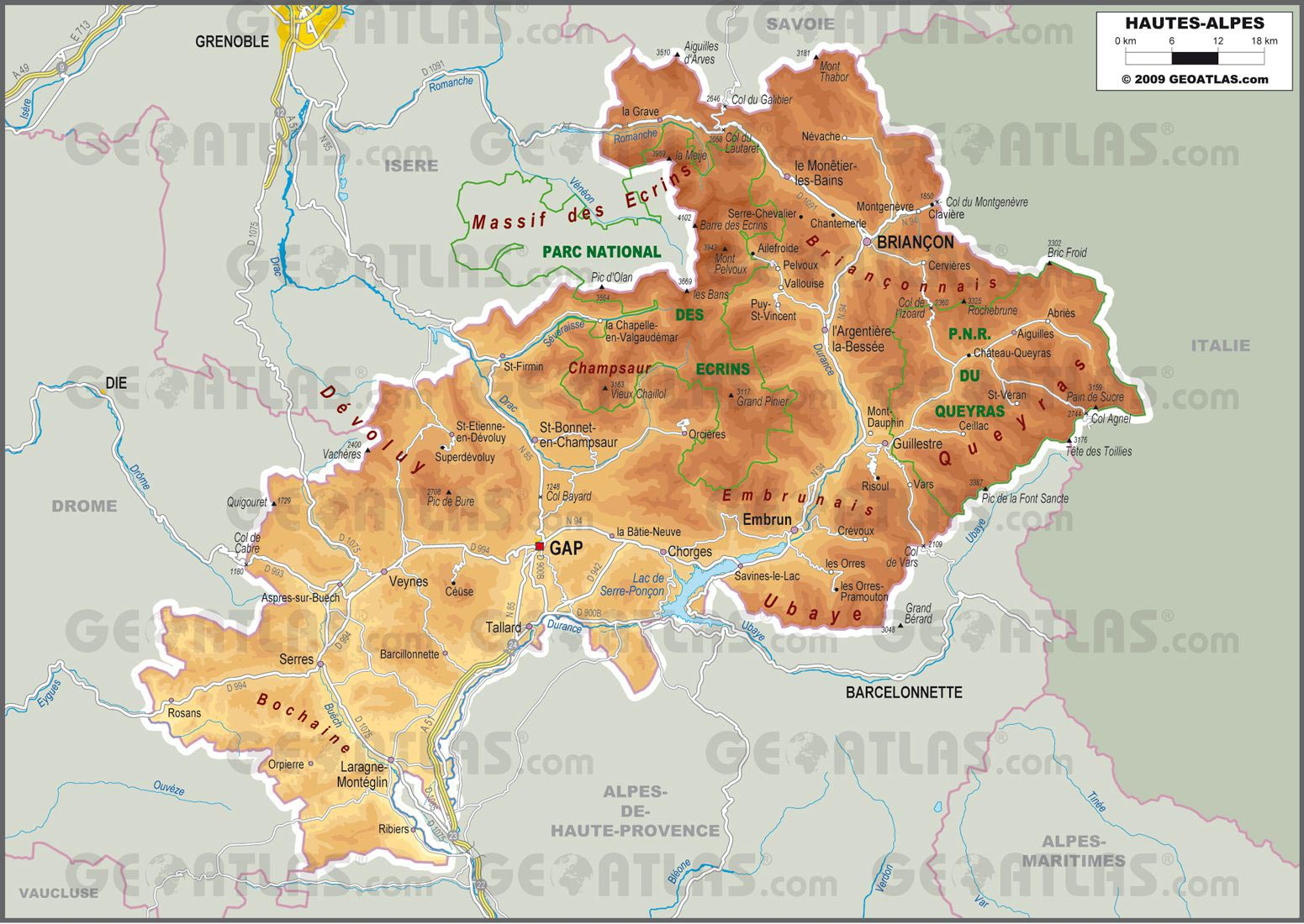 carte hautes alpes