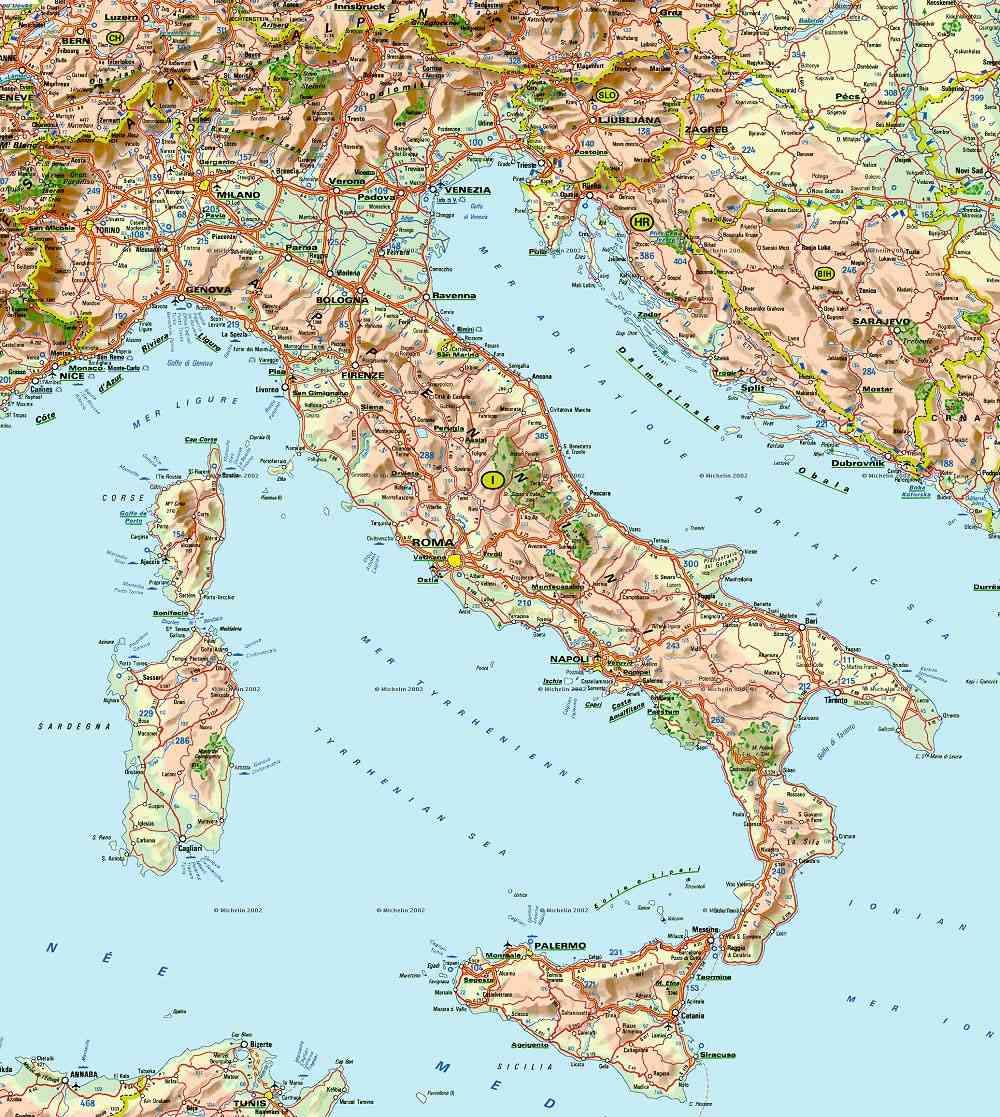 carte italie geographique