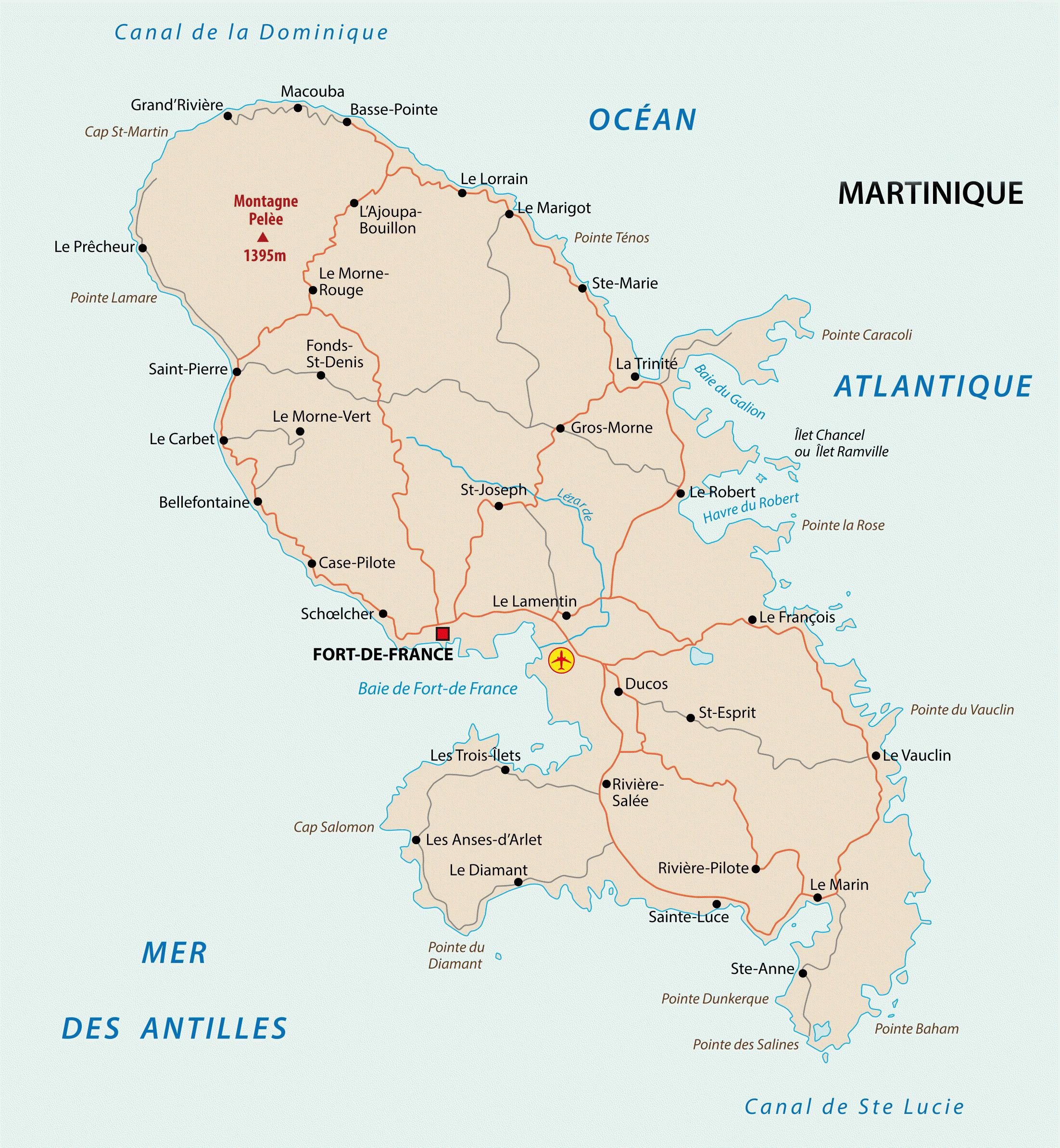carte martinique geographique