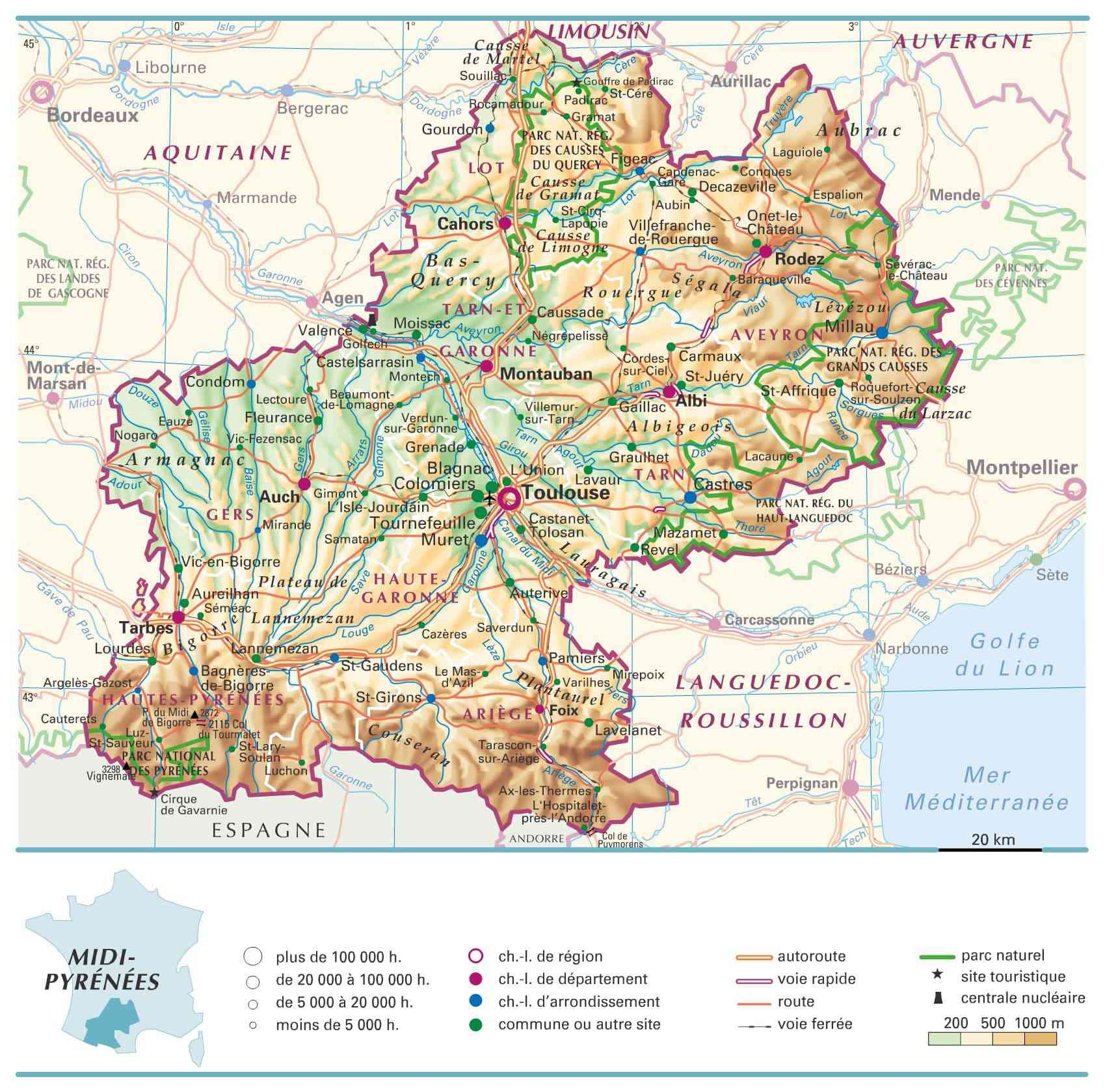 carte midi pyrenees