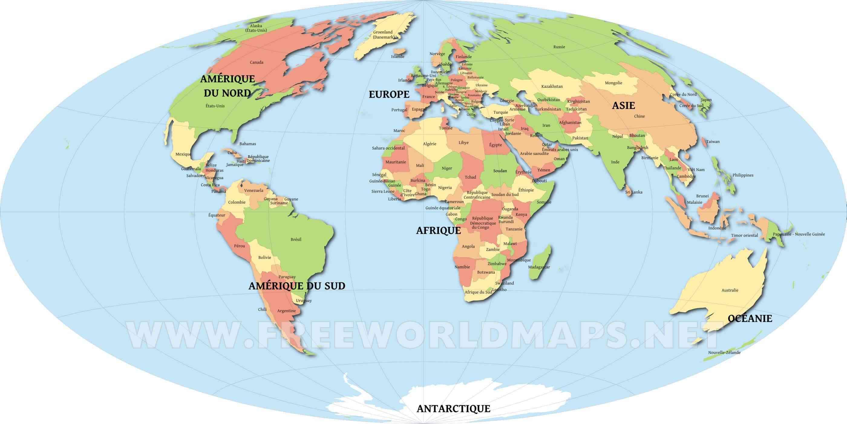 carte mondiale avec pays du monde