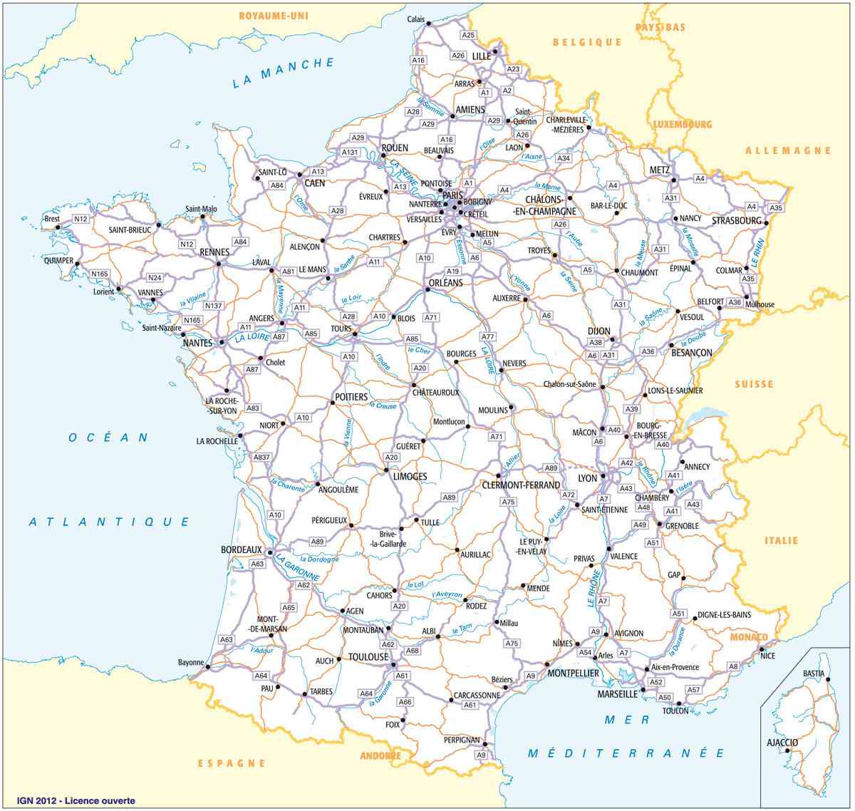 carte routiere france sud est