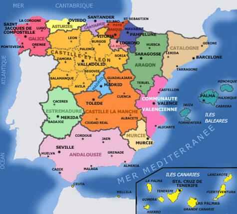 espagne carte geographique