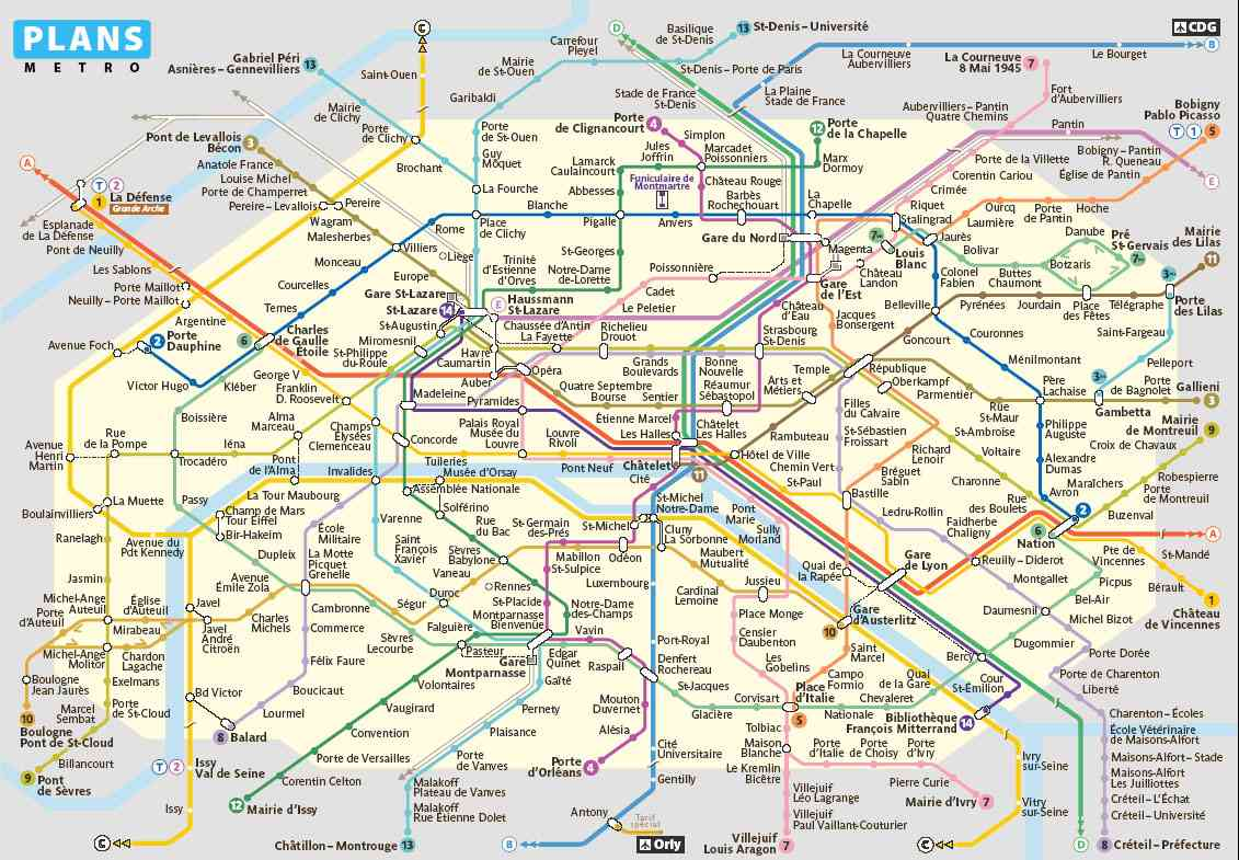 plan du metro de paris