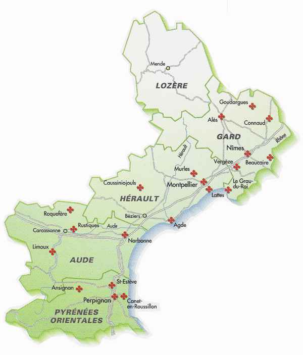 villes du languedoc roussillon