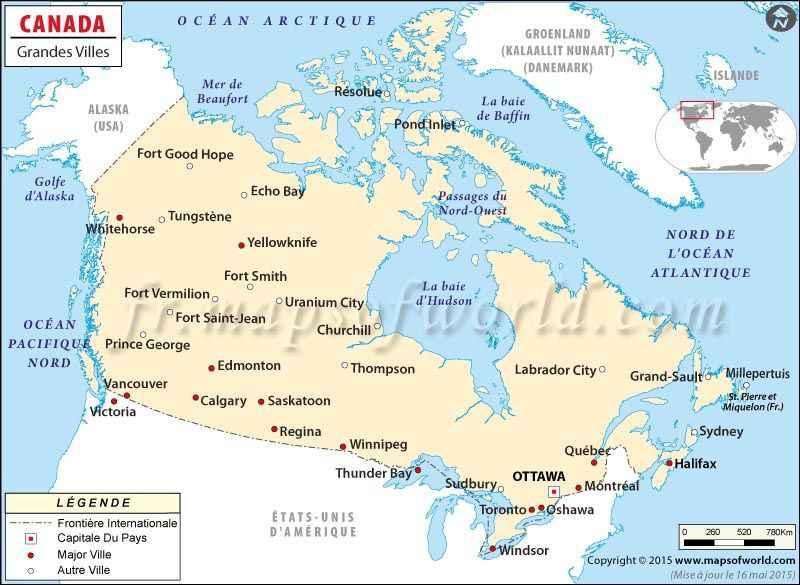 villes principales canada