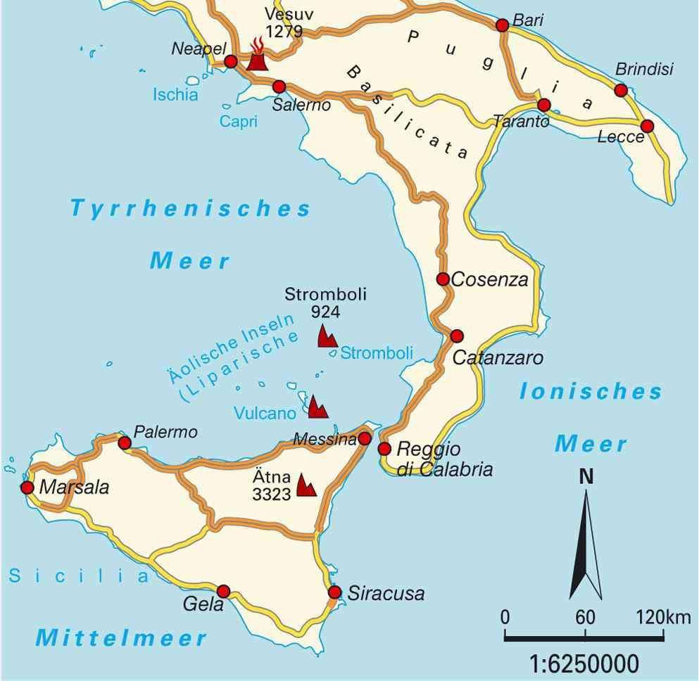 volcans italiens carte
