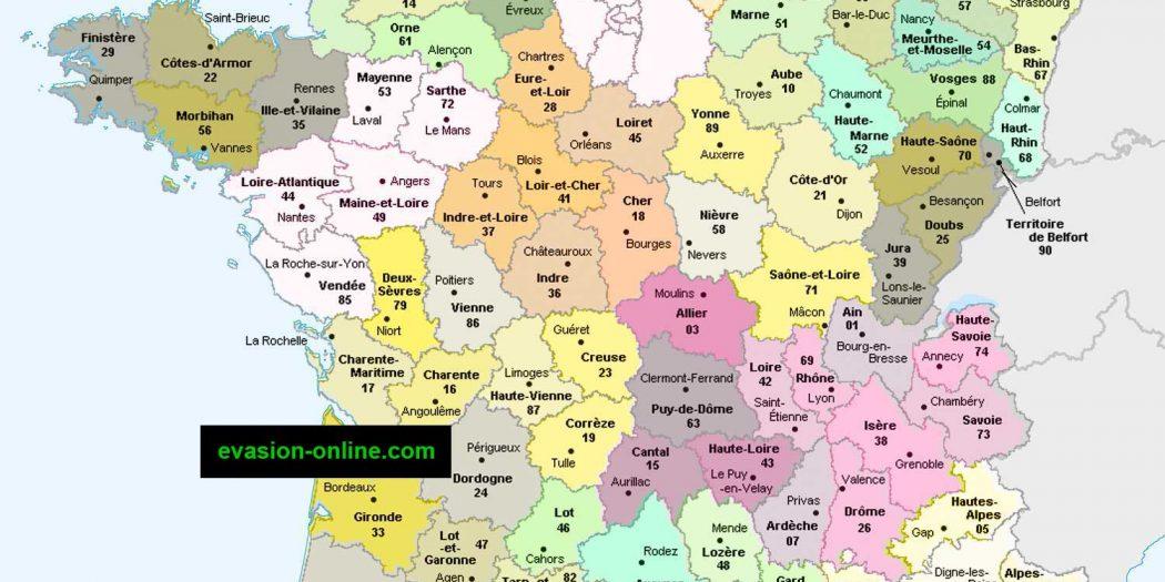 Carte France départements