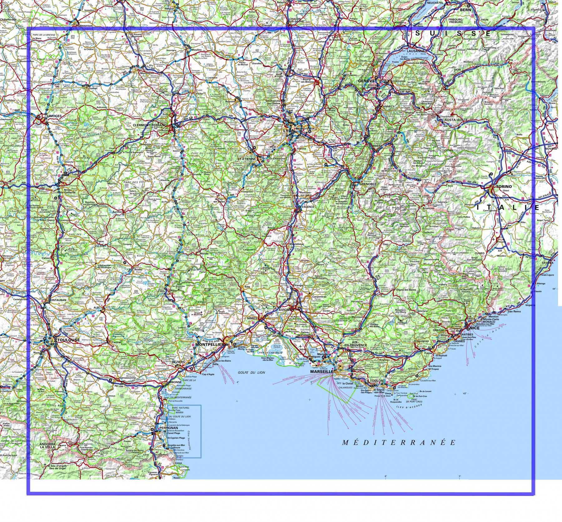 sud est france carte