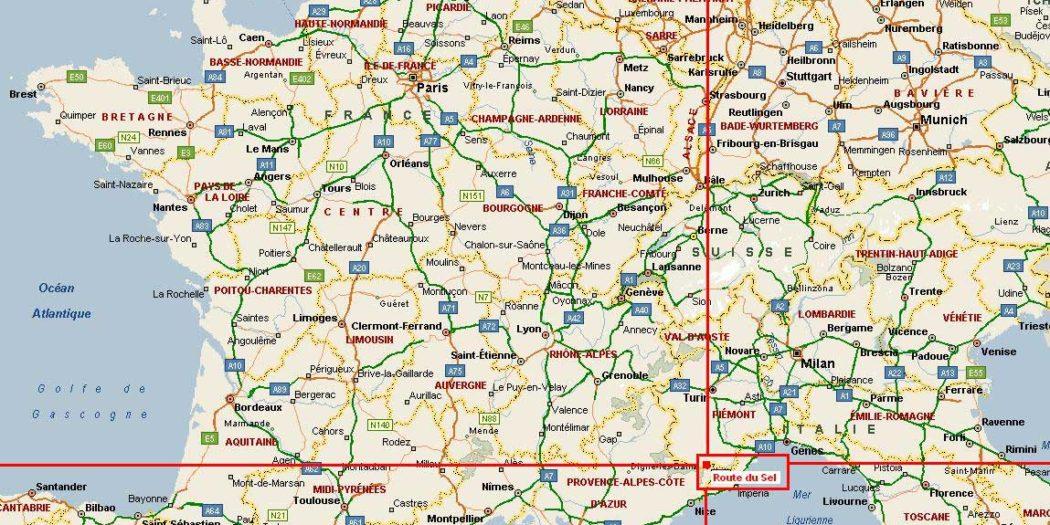 Carte routière France-Italie