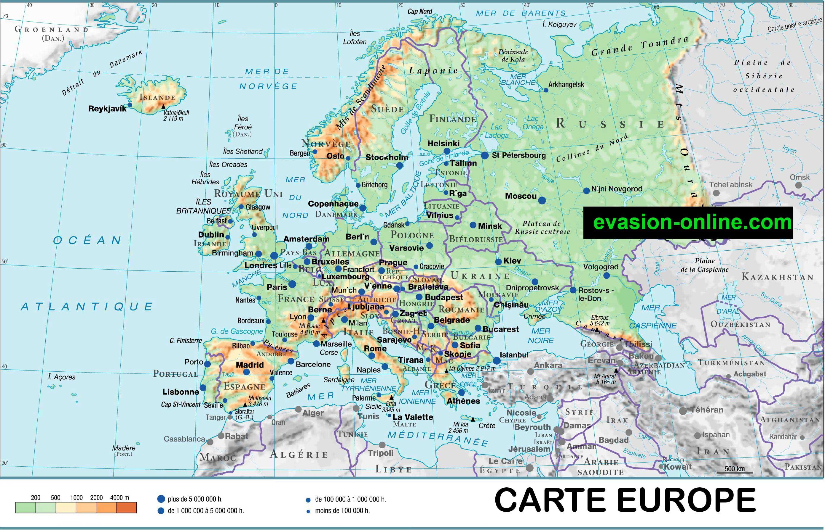 europe carte géographique