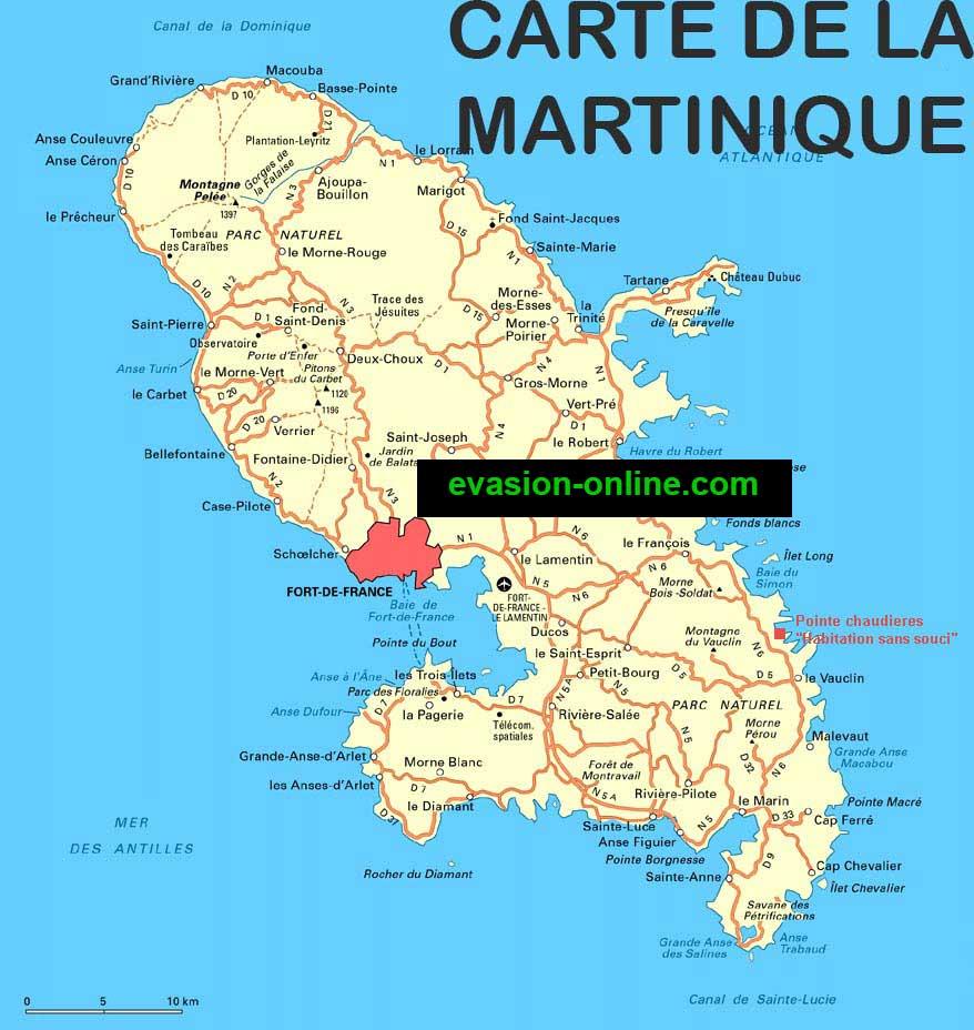 carte de la martinique détaillée