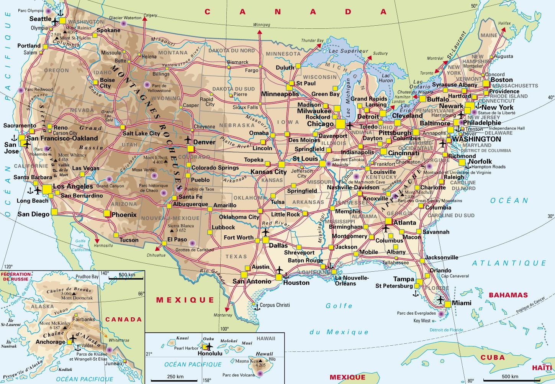 carte géographique des états unis