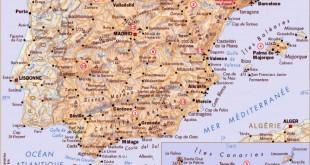 Carte détaillée pays d'Espagne, capitales, villes et régions