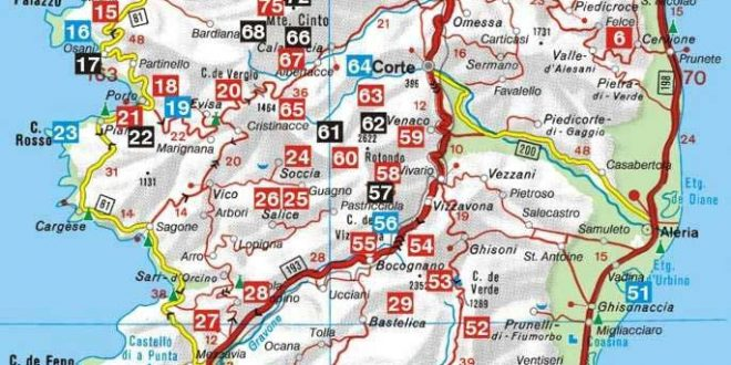 Carte de la Corse - Sud et Nord