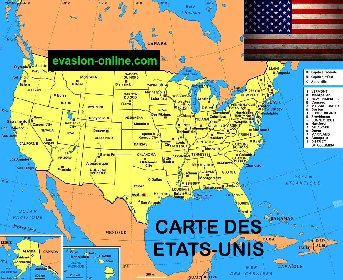 Carte Etats Unis Villes Vacances Guide Voyage