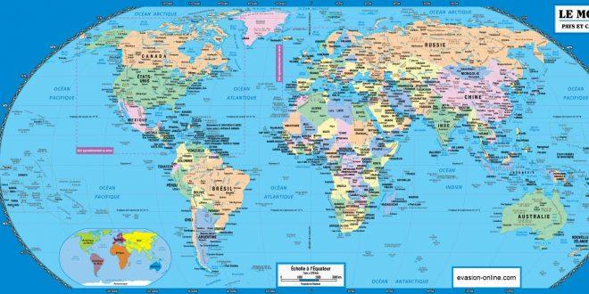 Carte du monde pays et capitales