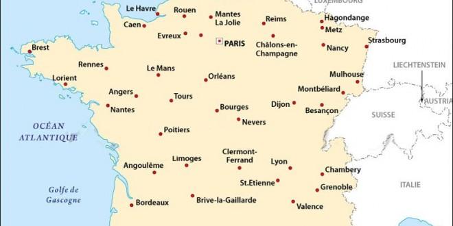Principales villes de France