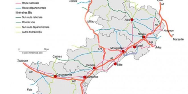 Villes du Languedoc Roussillon - Carte