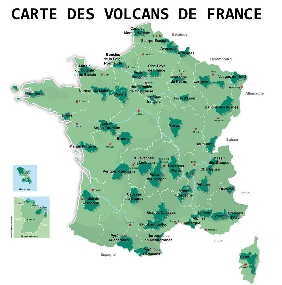 Carte des volcans en France » Vacances - Guide Voyage