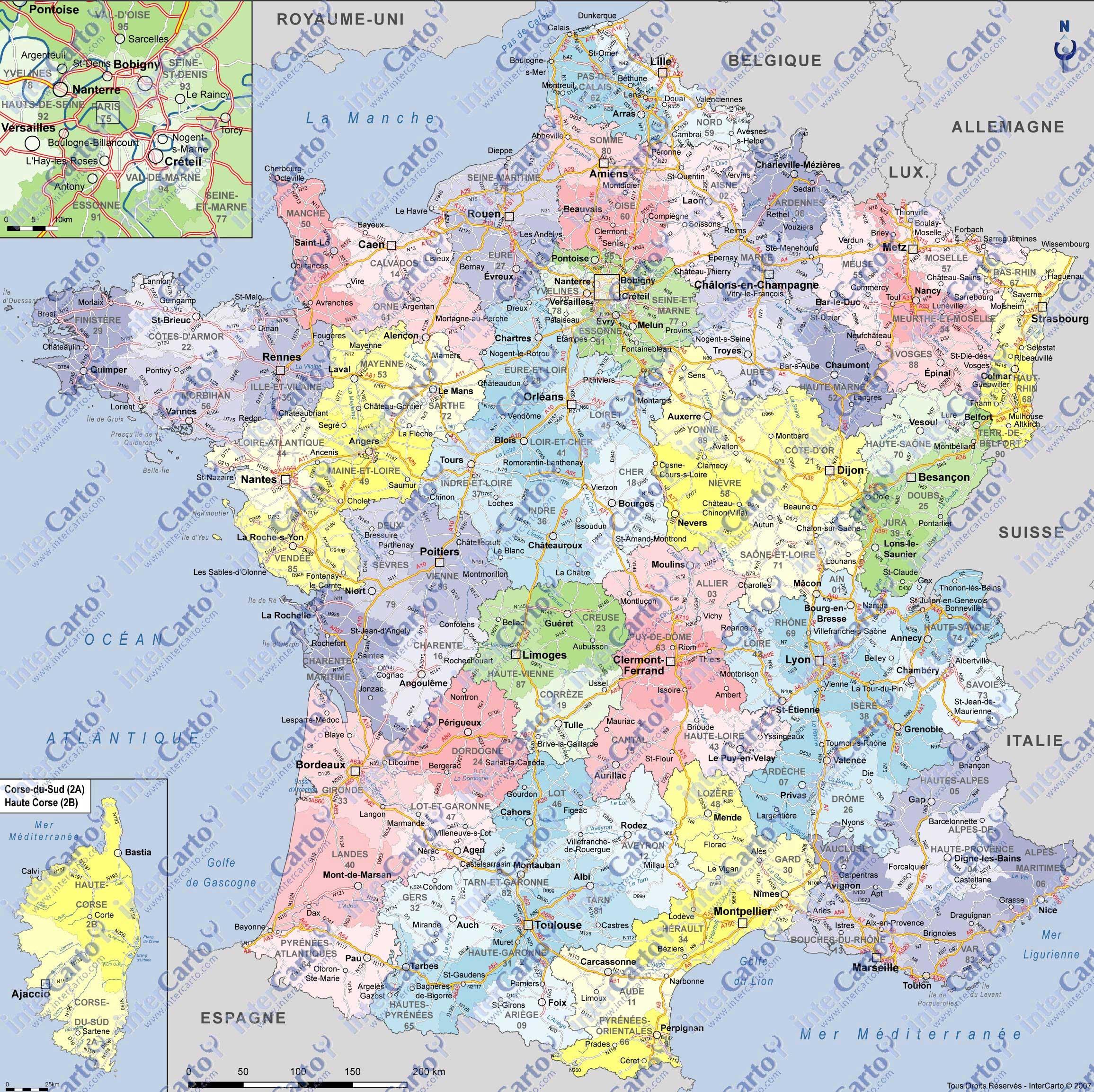 carte de france détaillée villes