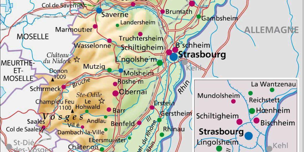 Carte du Bas Rhin -è