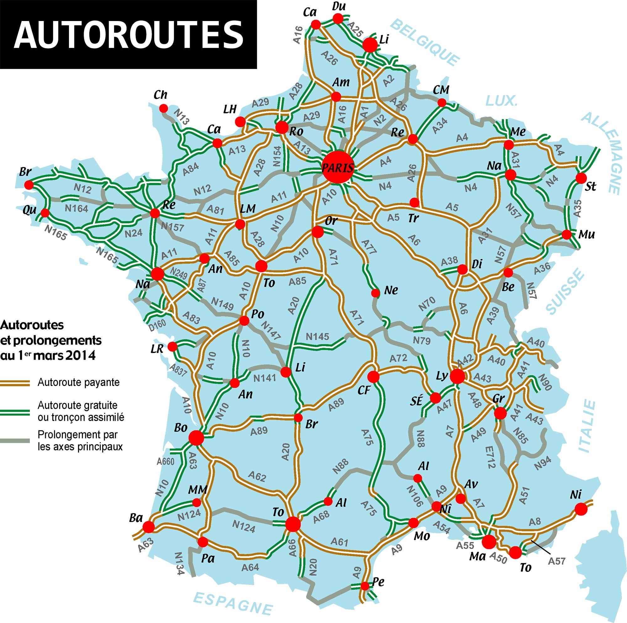carte des autoroute de france Carte de France des autoroutes » Vacances   Arts  Guides Voyages