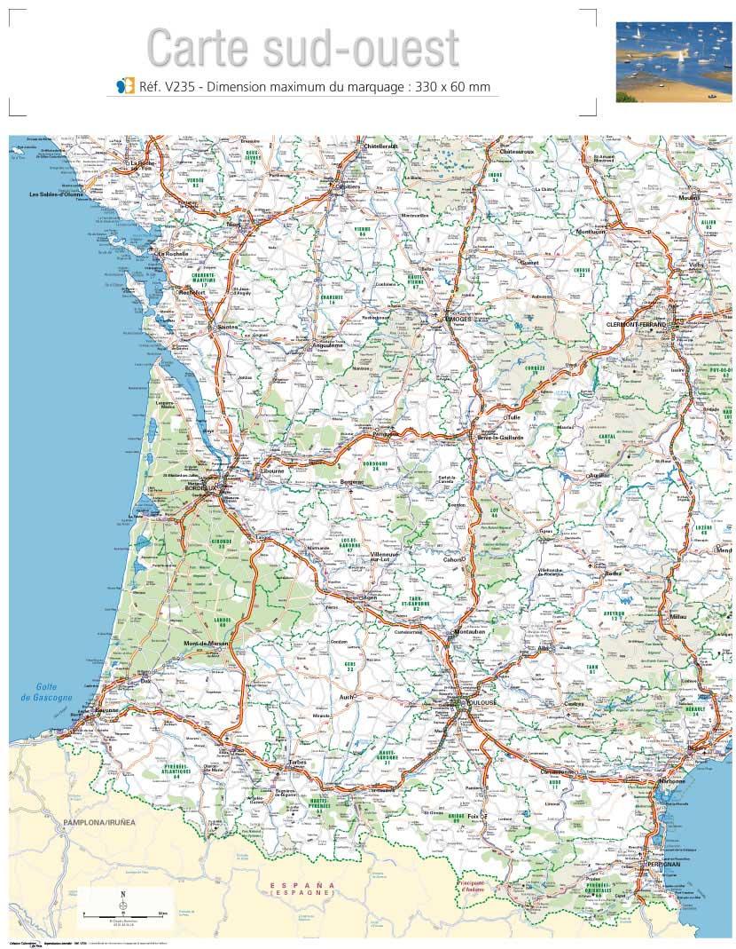 carte du sud ouest