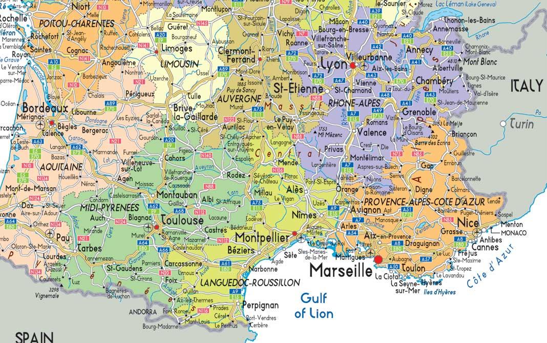 carte routiere sud ouest france détaillée