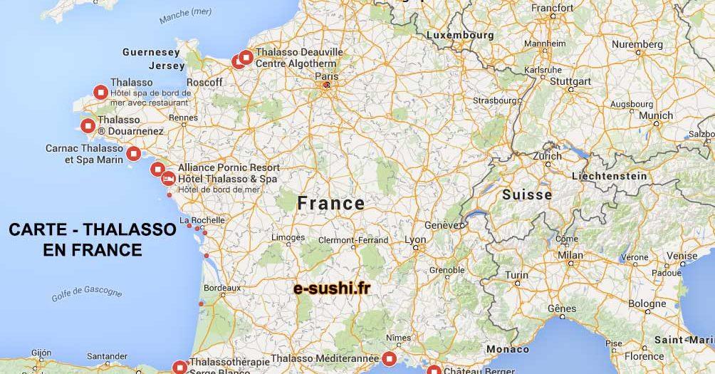 Carte des Thalasso en France