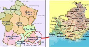 Carte de la région Provence